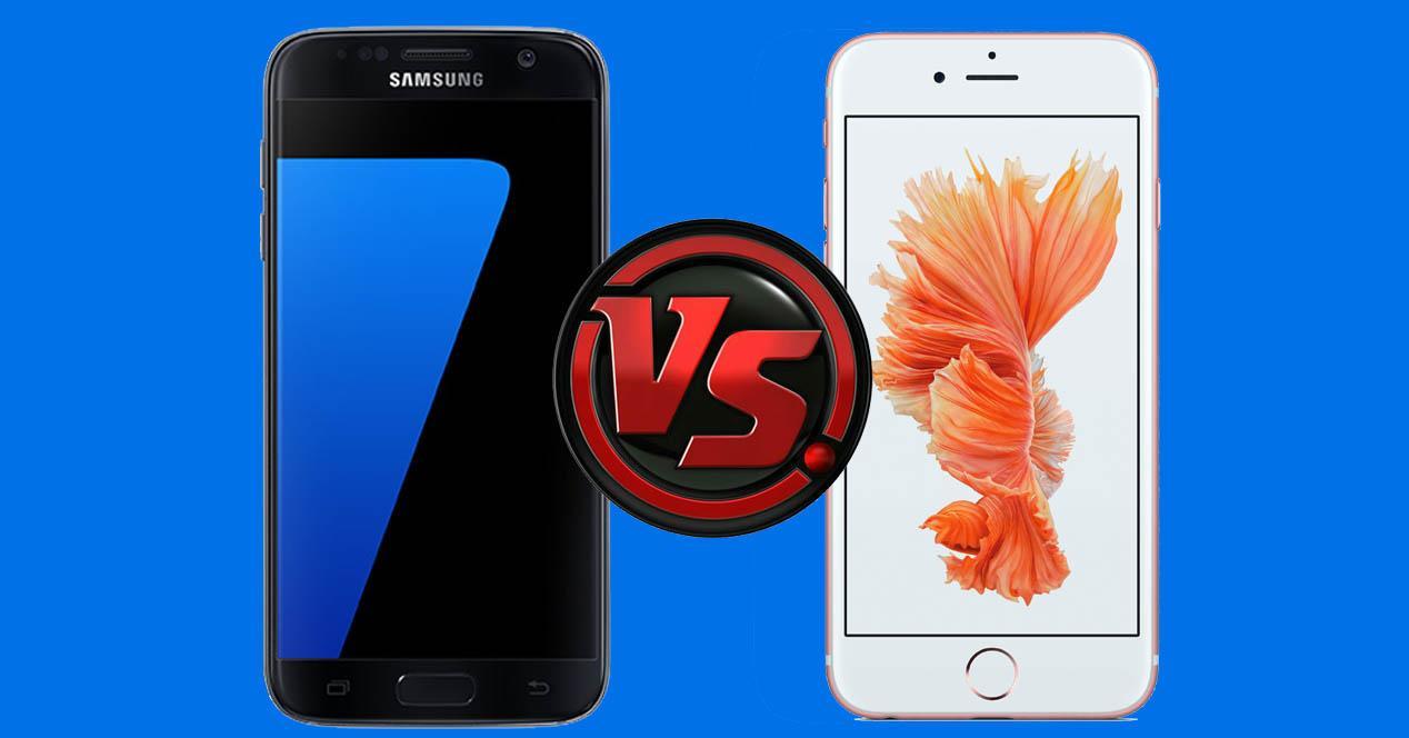 Samsung Galaxy S7 negro y iPhone 6s color blanco
