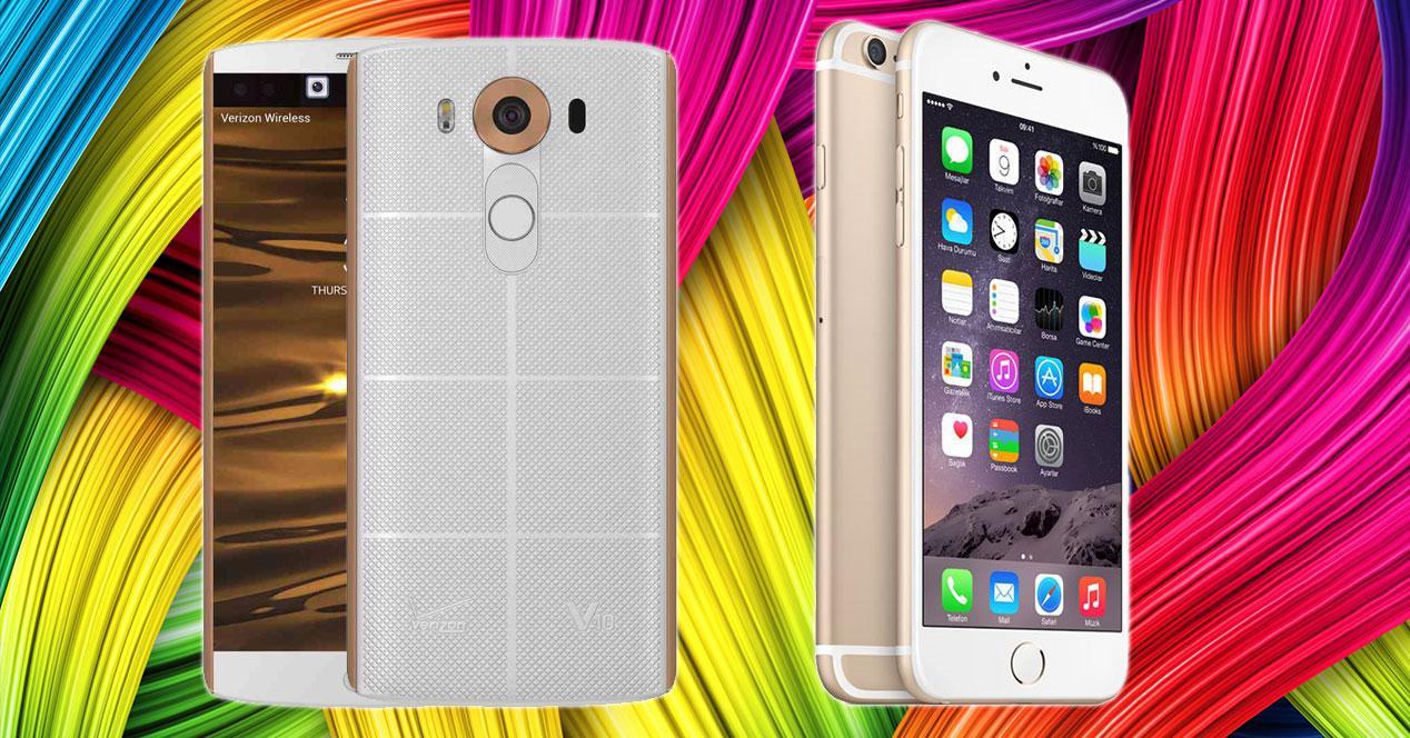 LG V10 y iPhone 6s Plus en color blanco y dorado