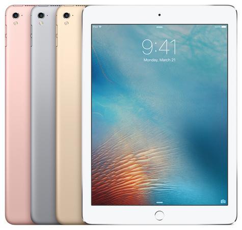 Apple iPad Pro 9.7 blanco y modelo en color oro, rosa y plata