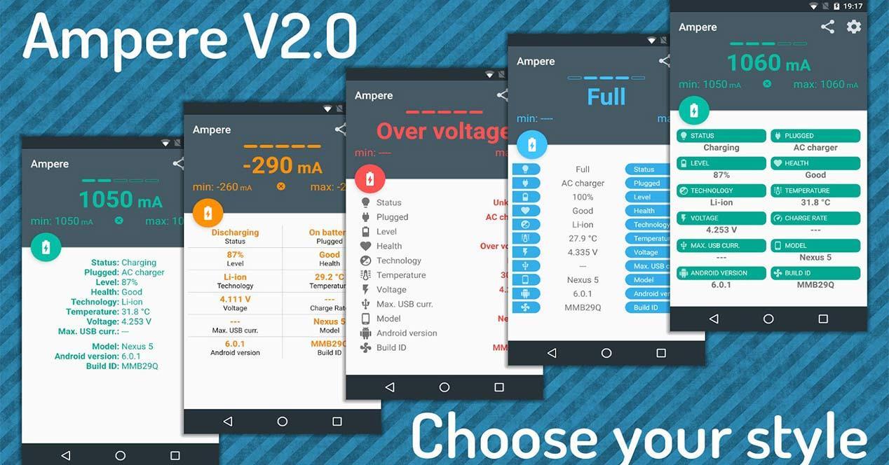Aplicacion para dispositivos Android Ampere