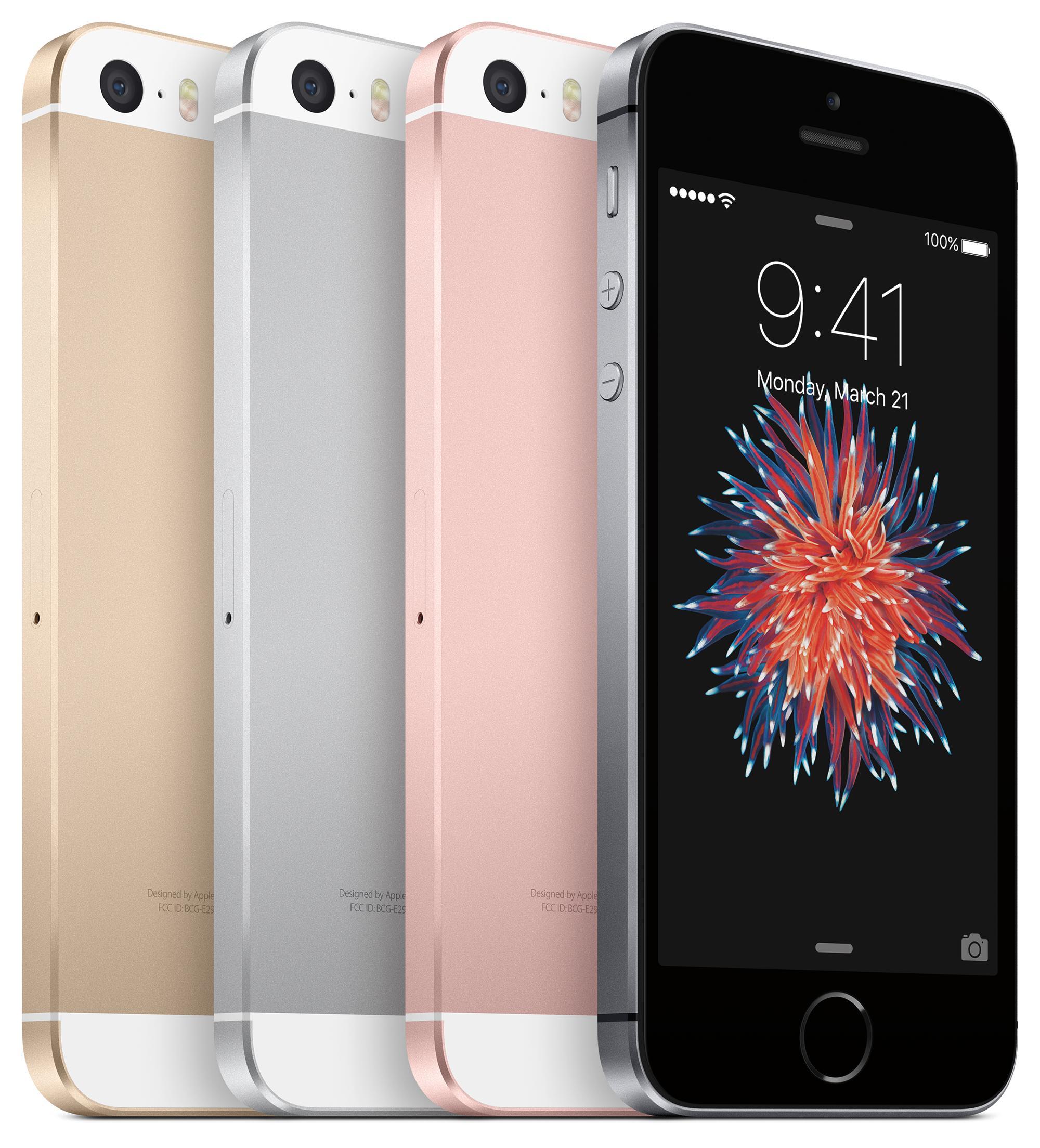 iPhone SE vista de perfil en cuatro colores