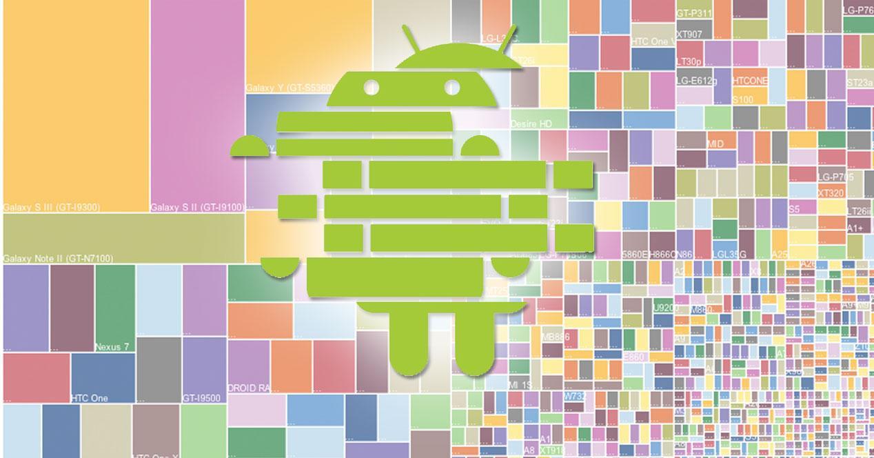 robot de android fragmentado sobre fondo multicolor