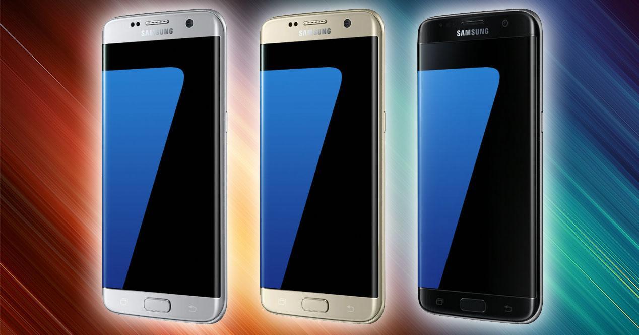 Samsung Galaxy S7 Edge en plateado, dorado y negro