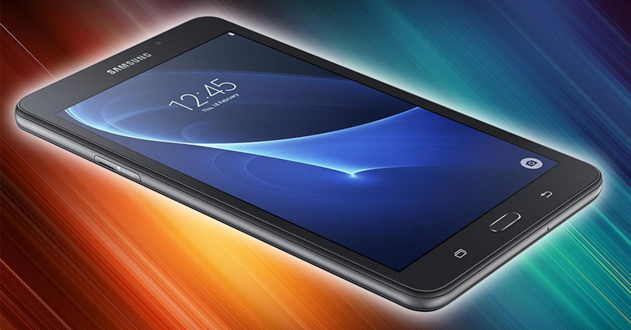 Samsung Galaxy Tab A (2016) negro con fondo multicolor