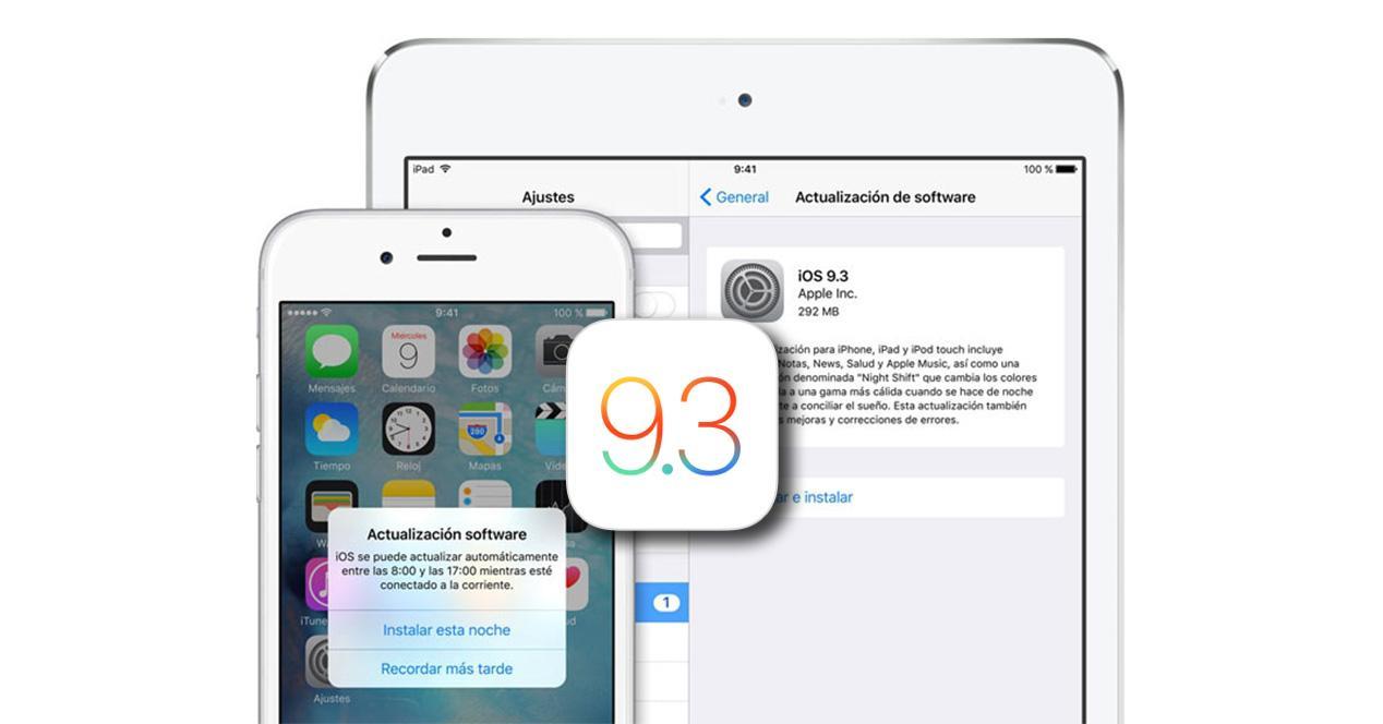 iOS 9.3 sobre iphone y ipad