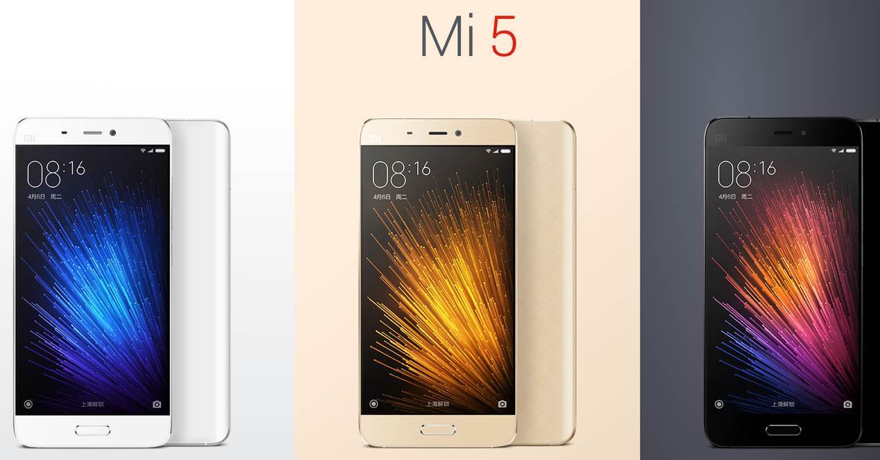 Xiaomi Mi5 en color blanco, negro y dorado