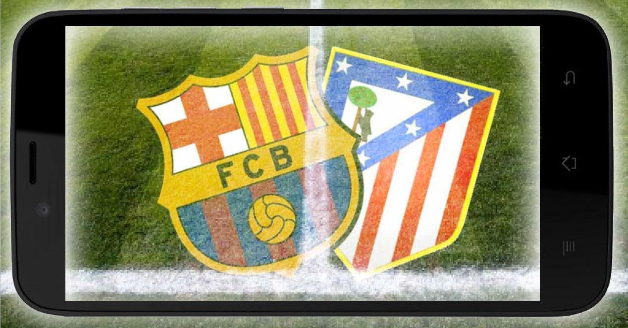 escudos barcelona y atleti dentro de un móvil