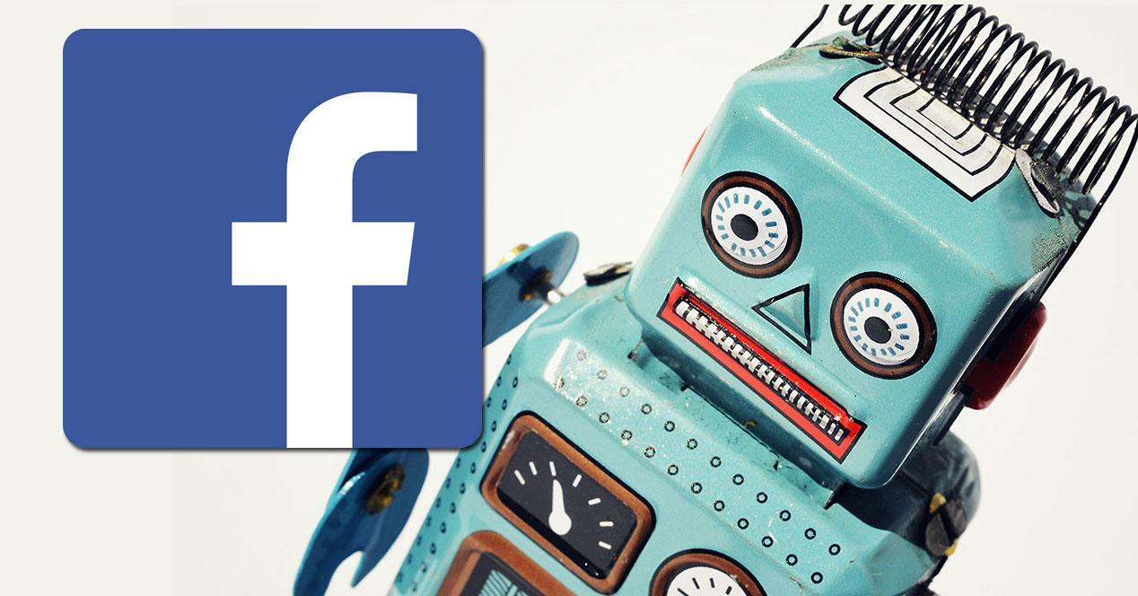 robot con logo de facebook