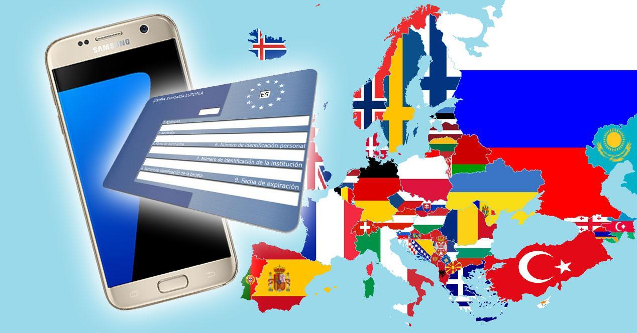 Tarjeta Sanitaria Europea con móvil y fondo de mapa de Europa