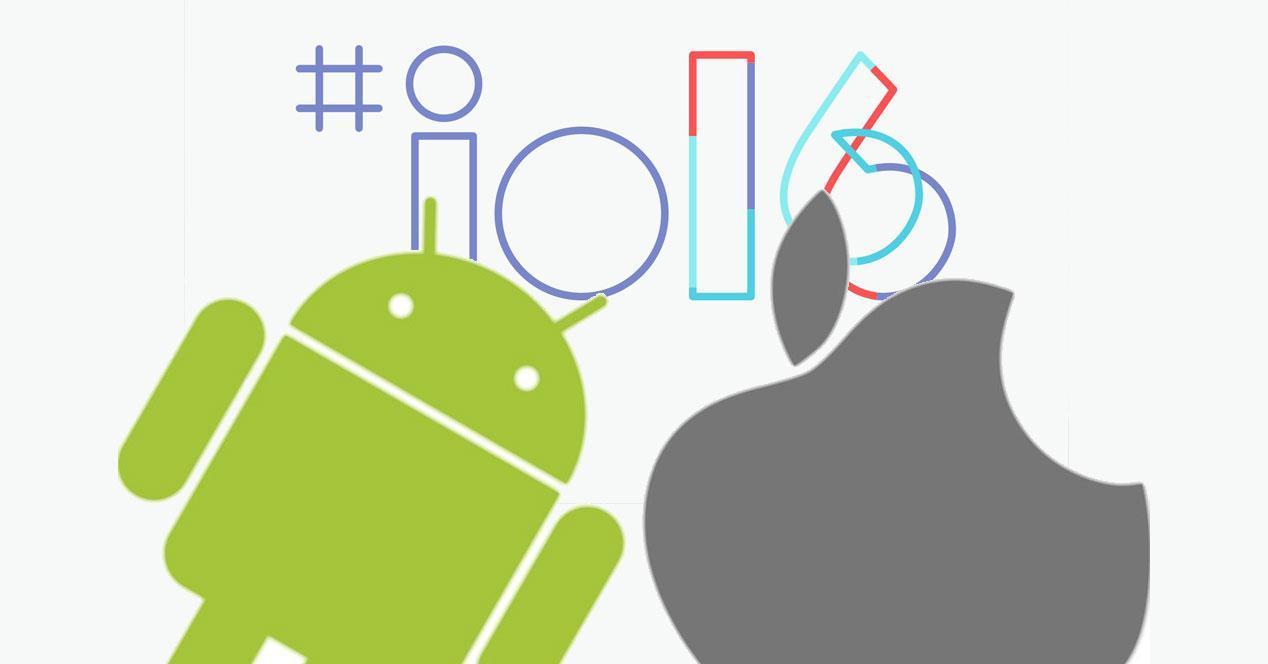 logos android apple y google io