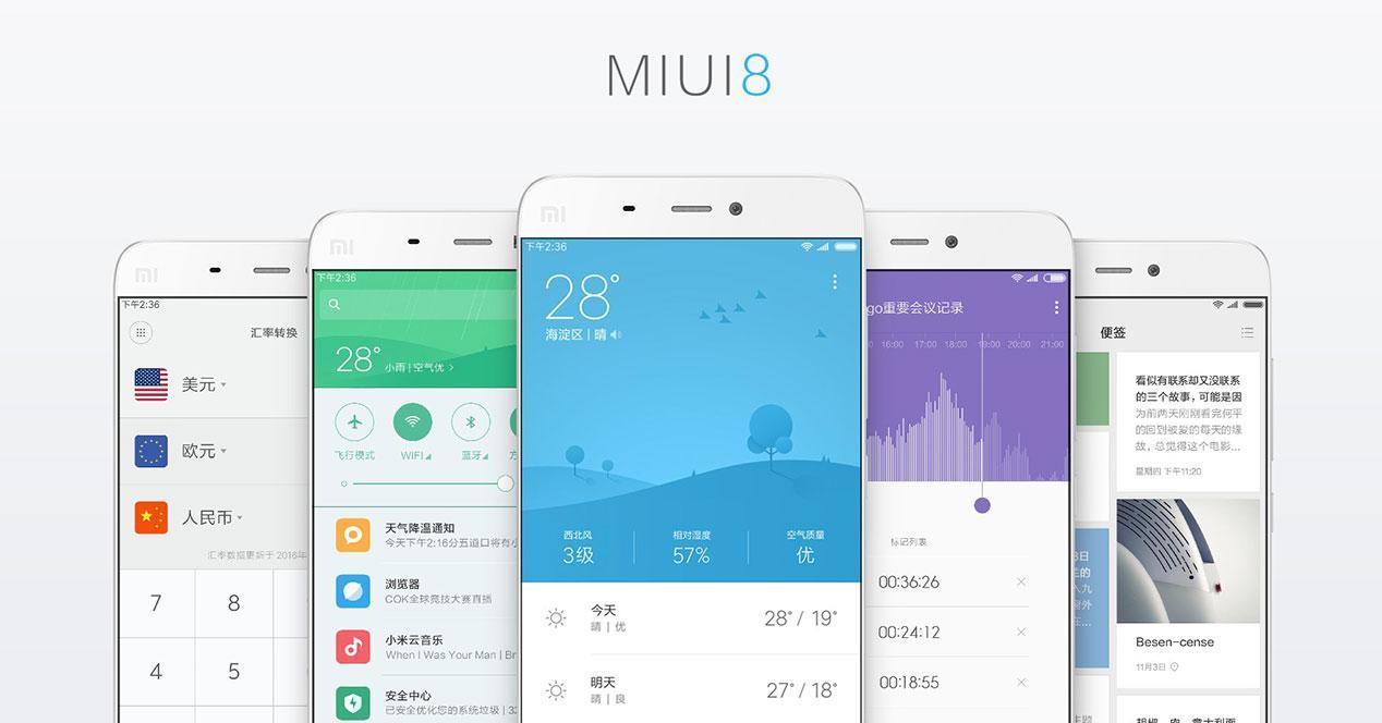 Interfaz del SO MIUI8