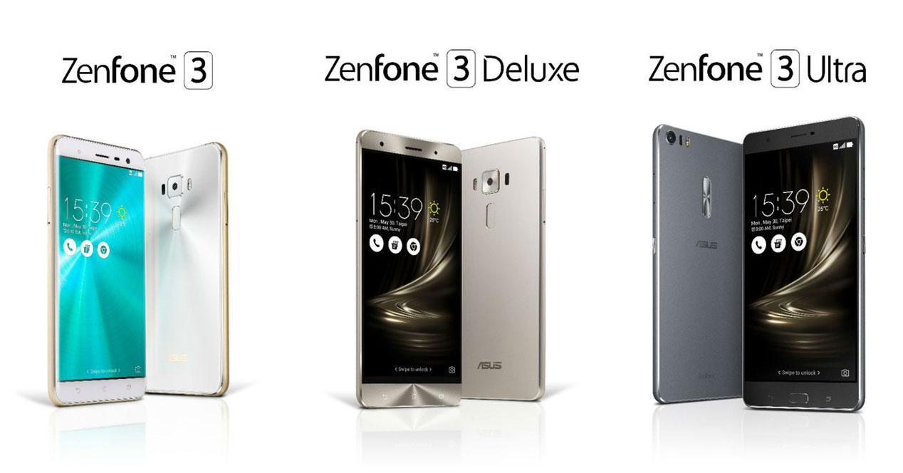 asus zenfone 3, asus zenfone 3 deluxe y asus zenfone 3 ultra