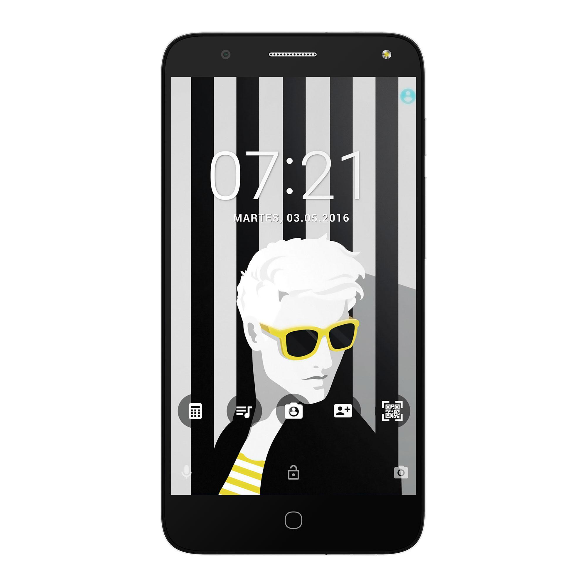 Alcatel POP 4 frontal con pantalla con chica de gafas negras