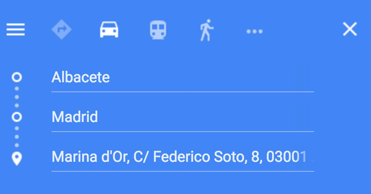 destinos google maps