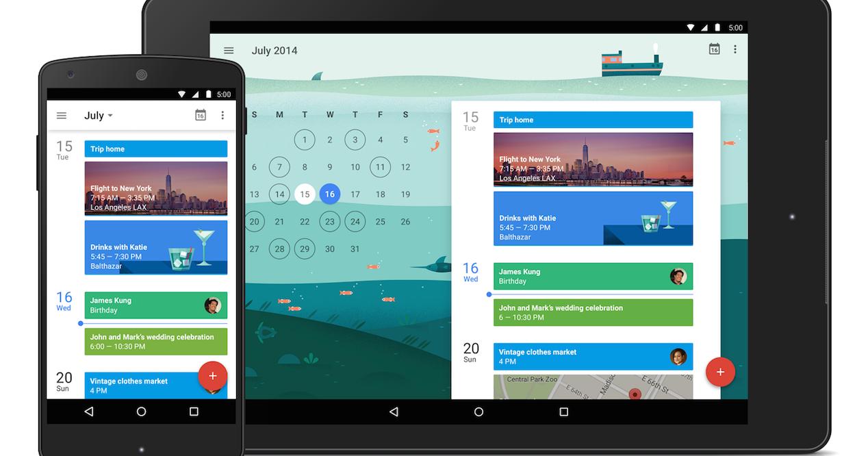 google calendar en smartphone y tablet