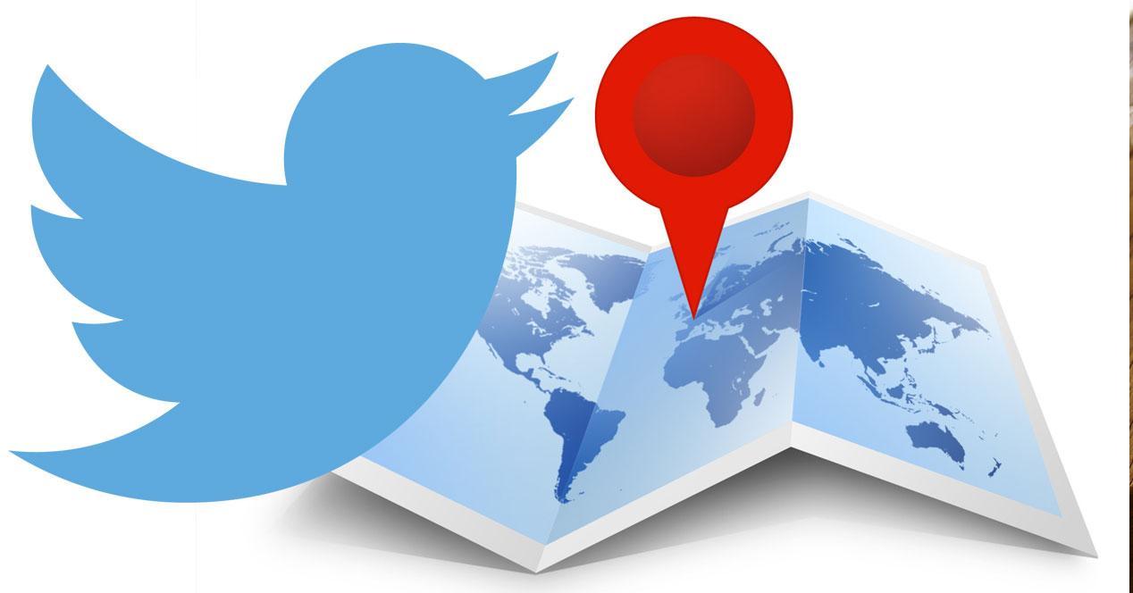 twitter con icono de mapa