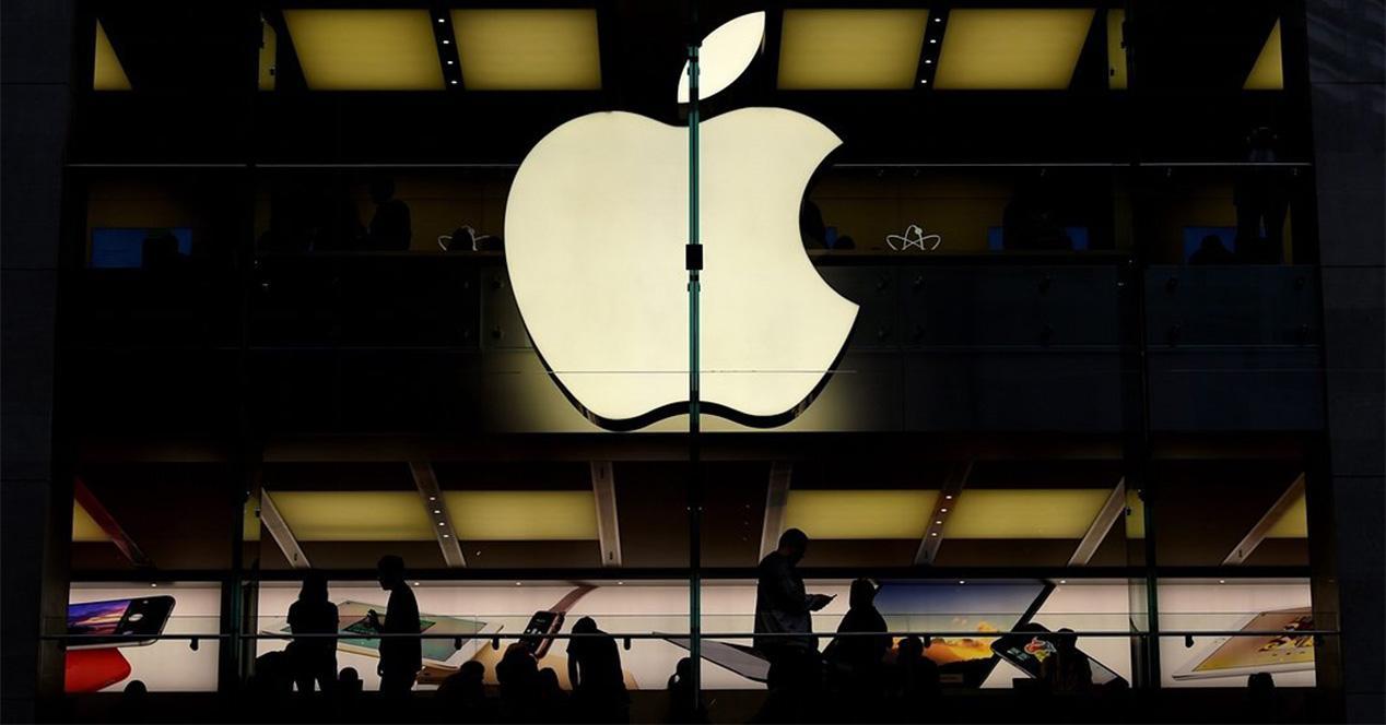 Logo de Apple iluminado