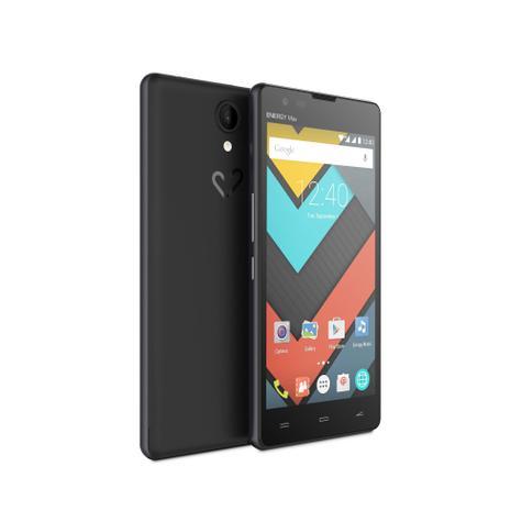 Energy Phone Max 4G negro con pantalla encendida