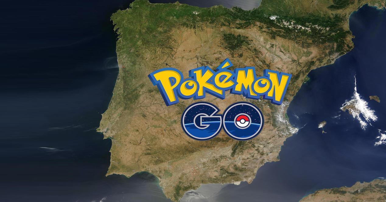 logo pokemon go sobre mapa de españa