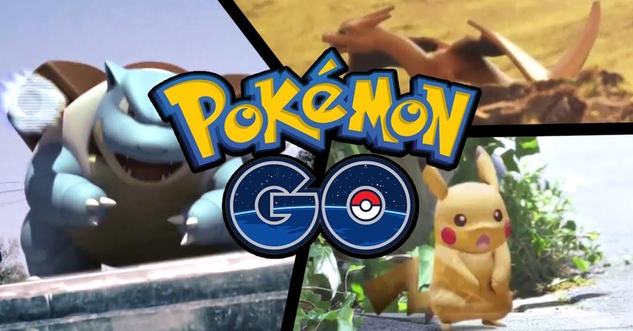 pokémon go logo sobre bulbasur, charizard y pikachu