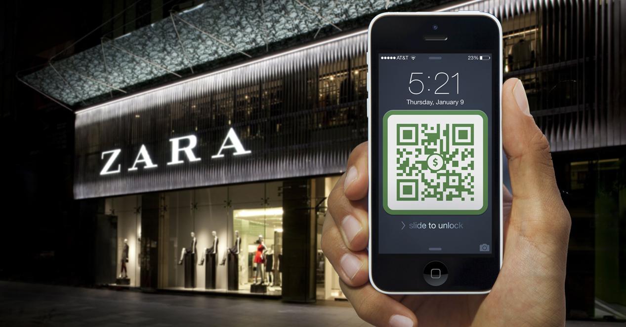 Iphone con código QR frente a tienda Zara
