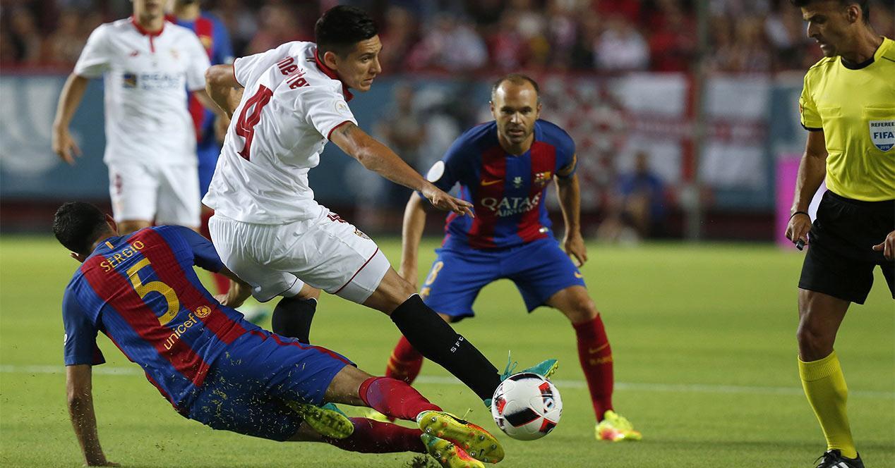 Partido de Supercopa entre el Barcelona y el Sevilla