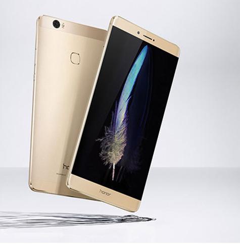 Honor Note 8 dorado con pantalla encendida