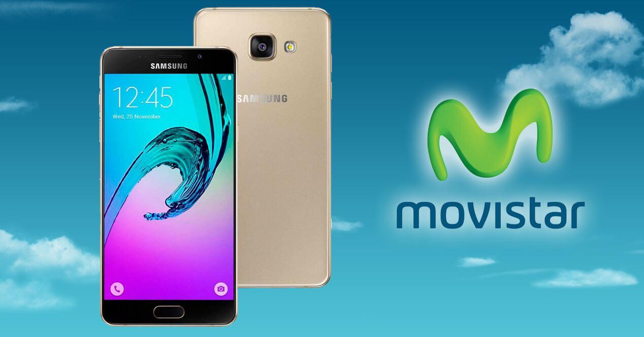 Samsung Galaxy A5 2016 dorado con logo de movistar