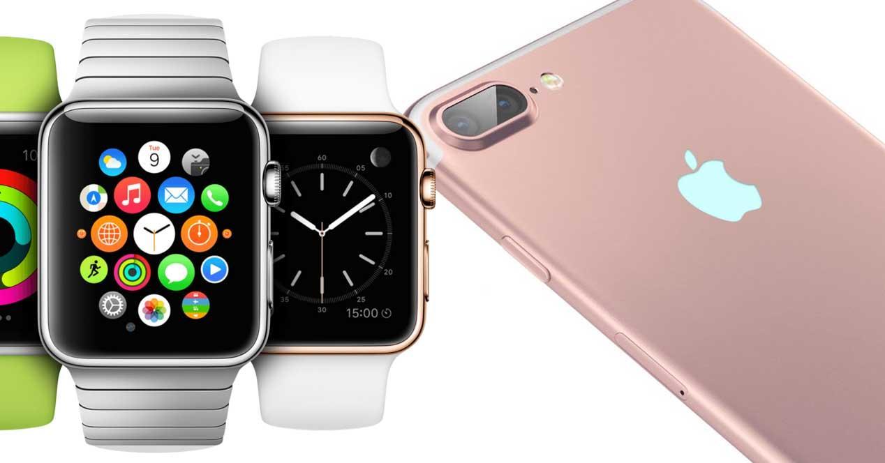 iphone 7 plus junto a Apple Watch