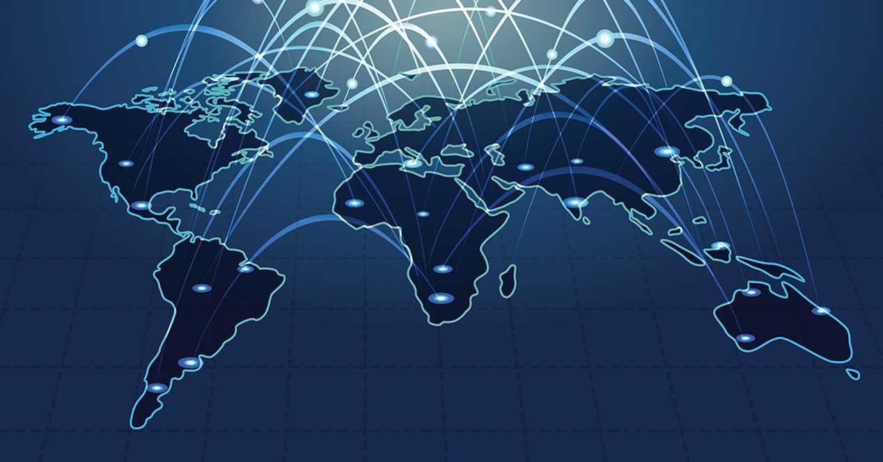 mapa del mundo conectado