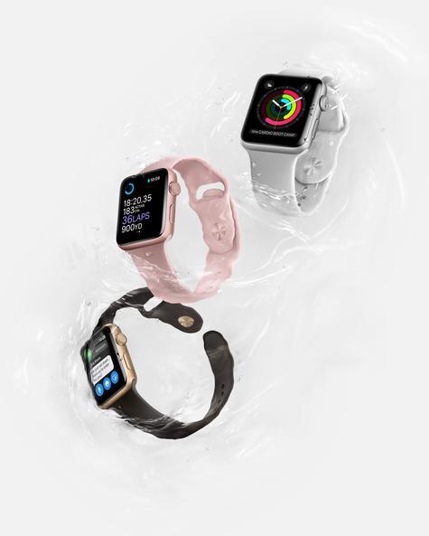 Apple Watch 2 rosa, negro y blanco