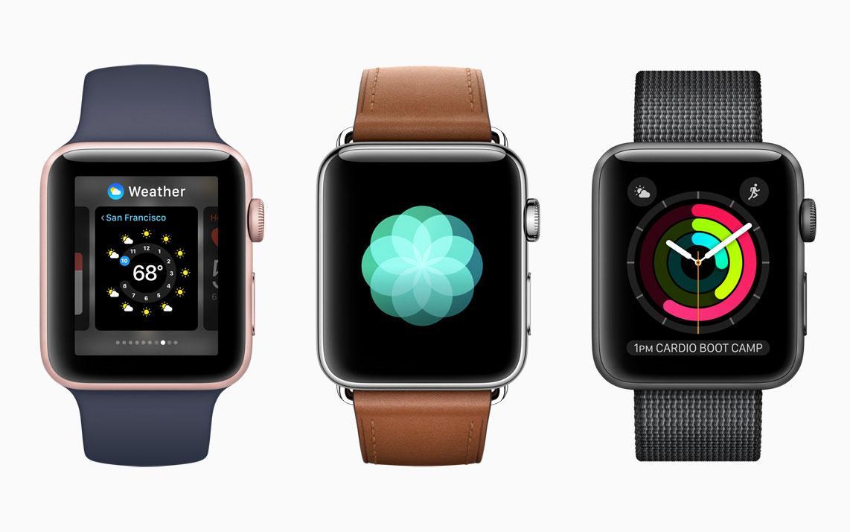 Apple Watch 2 con correa de color azul, marrón y negra