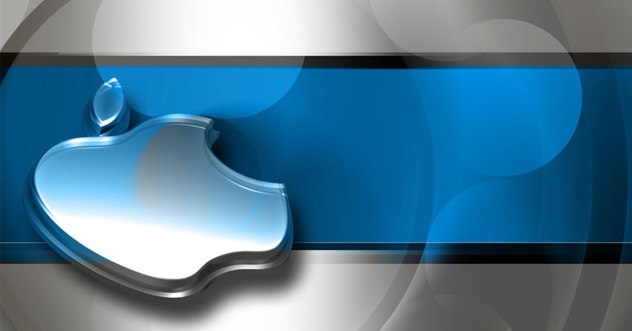 Logo de Apple con banda de color azul