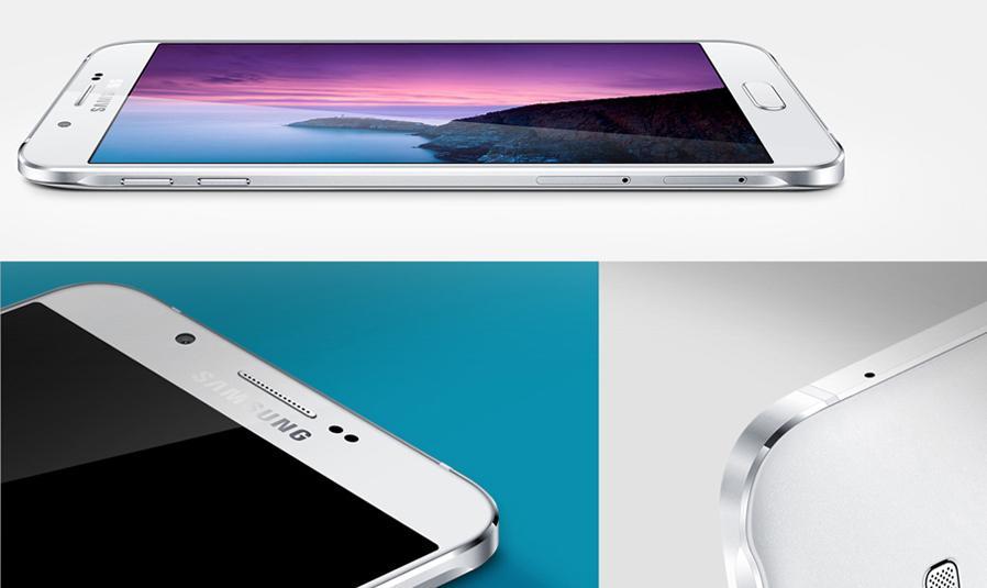 Samsung Galaxy A8 detalles de la carcas en blanco
