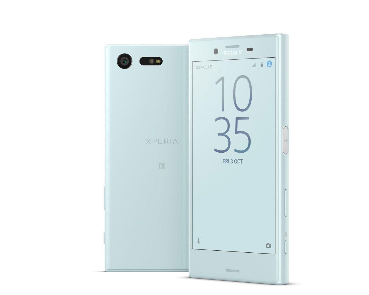 Sony Xperia Compact gris claro vista delantera y trasera