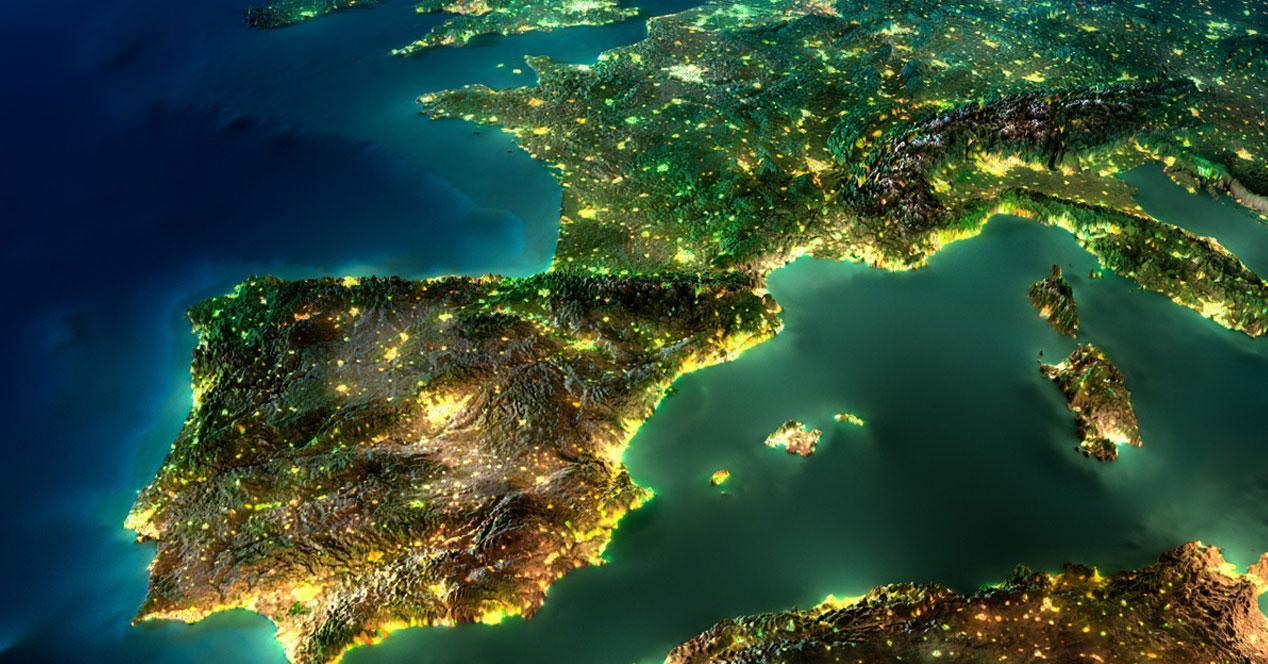 imagen de europa iluminada por la noche