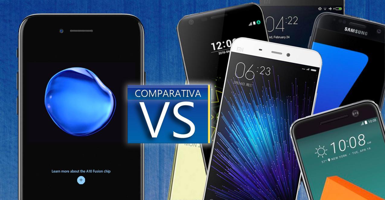 iphone 7 vs smartphones Android de 2016