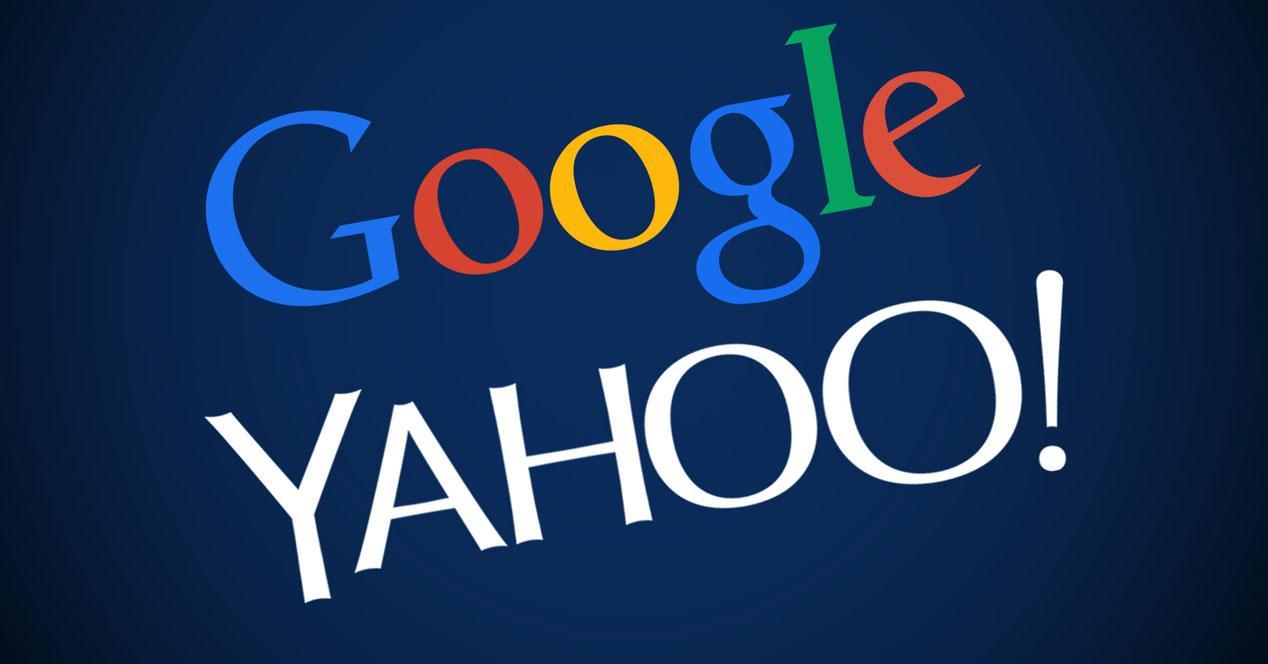 logos de google y yahoo sobre fondo azul
