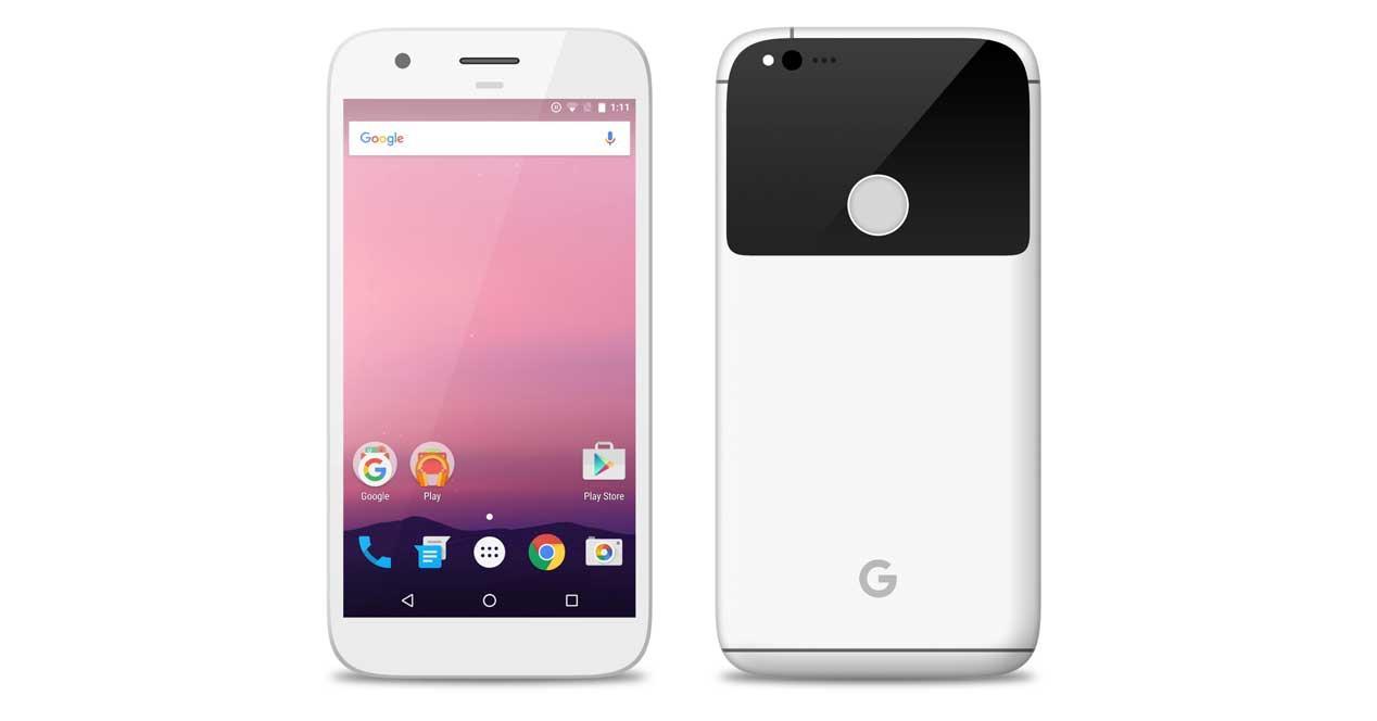 Google Pixel de color blanco
