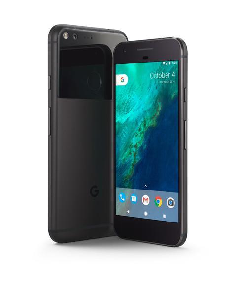 Google Pixel negro vista delantera y trasera