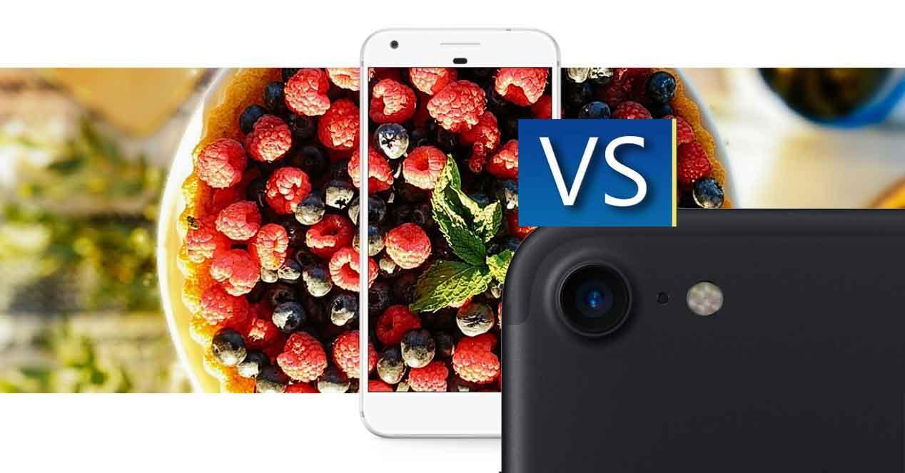 camara del Gogle Pixel frente iphone 7