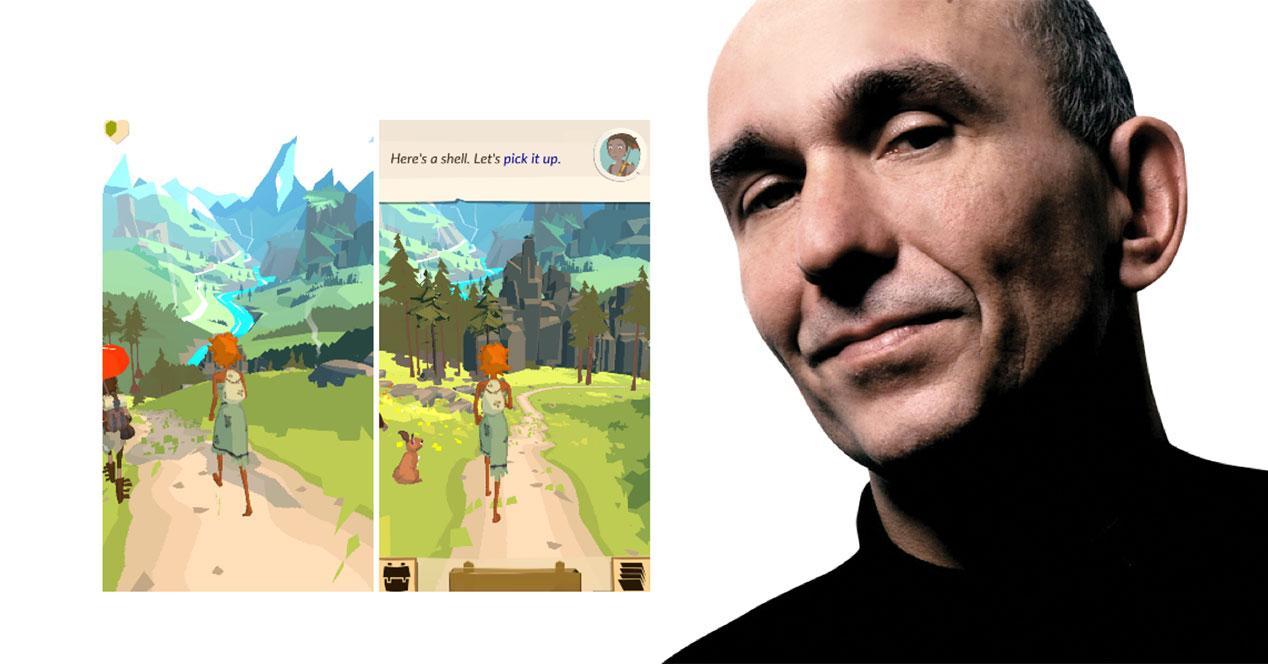 peter molyneux con pantallas de The trail para android