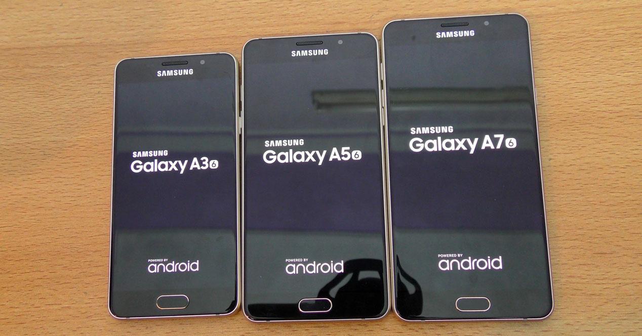 tres moviles de la serie galaxy a de 2016