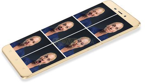 Gionee P7 Max con caras de un hombre en la pantalla