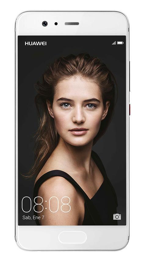 Huawei P10 blanco con chica en pantalla