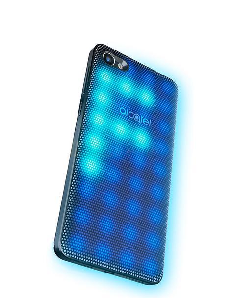 Alcatel A5 LED con carcasa de leds azules