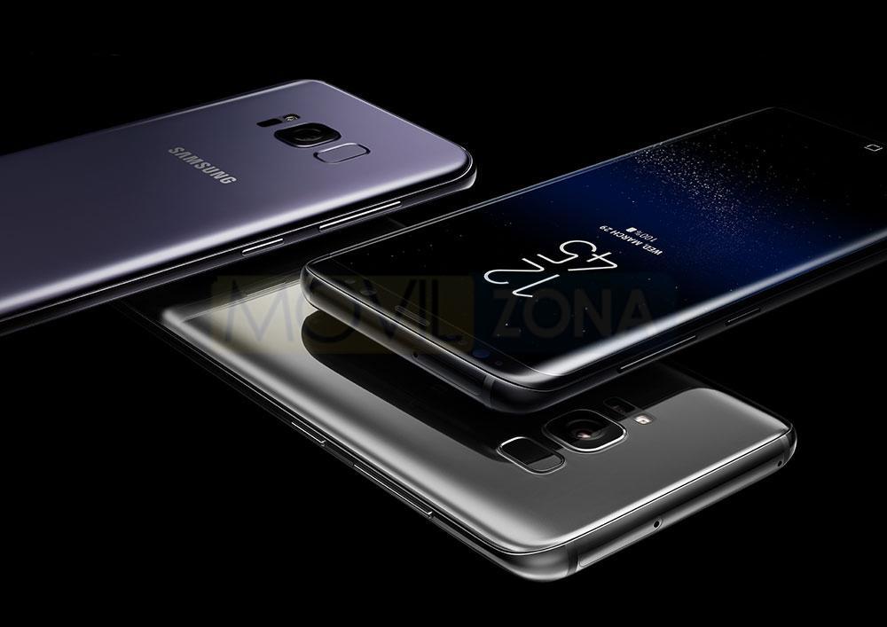 Samsung Galaxy S8 dorado, plata y violeta