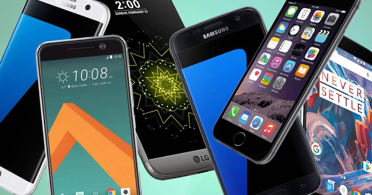grupo de móviles tope de gama lanzados en 2016