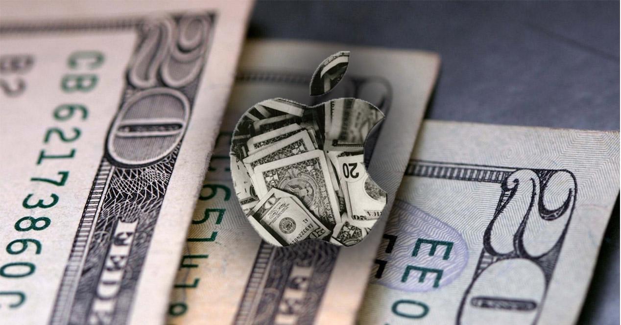 Logotipo de Apple sobre fondo con billetes