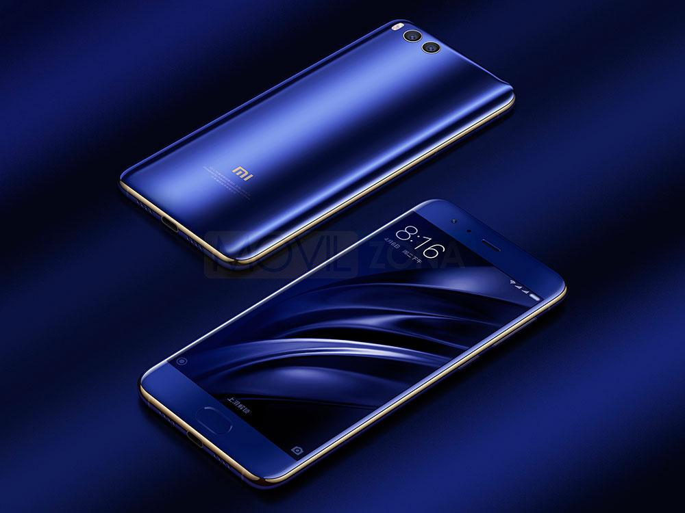 Xiaomi Mi 6 azul sobre fondo azul